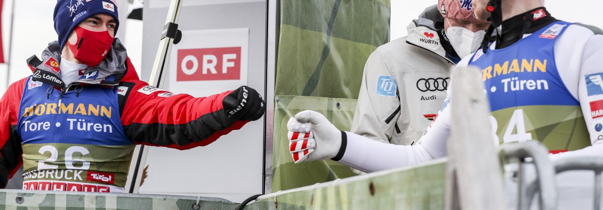 INNSBRUCK,AUSTRIA,02.JAN.21 - NORDIC SKIING, SKI JUMPING - FIS World Cup, Four Hills Tournament, large hill, qualification. Image shows Stefan Kraft (AUT) and Michael Hayboeck (AUT). Photo: GEPA pictures/ Patrick Steiner